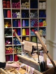 A table loom in action